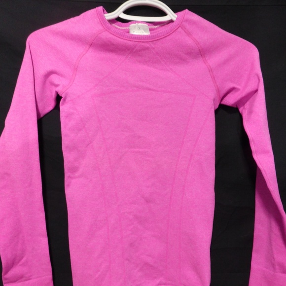 ivivva pink long sleeve exercise shirt, small